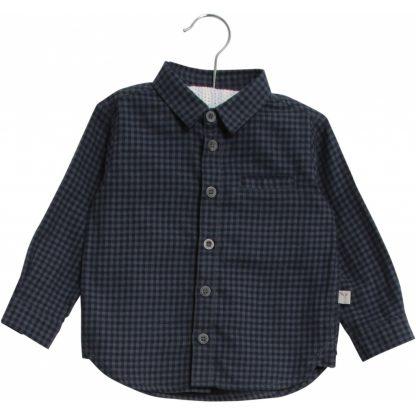 Flanellskjorte barn, blå rutete fra Wheat. – Wheat blå rutete skjorte Kristian – Mio Trend