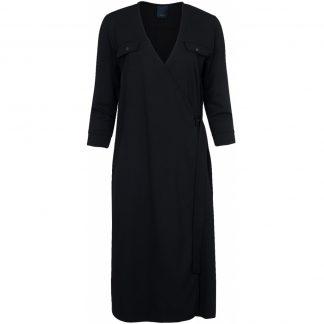Kjole med omslag, sort kjole.