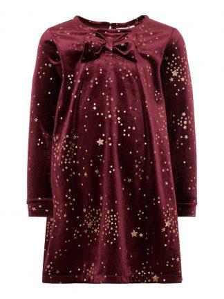 Julekjole barn, burgunder kjole med gullstjerner.