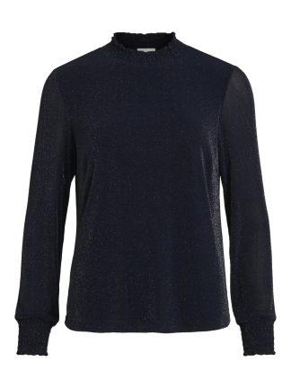 Vila glittergenser, marineblå genser med høy hals.