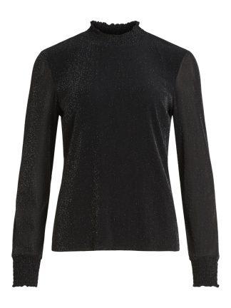 Sort genser glitter, genser med høy hals fra Vila.