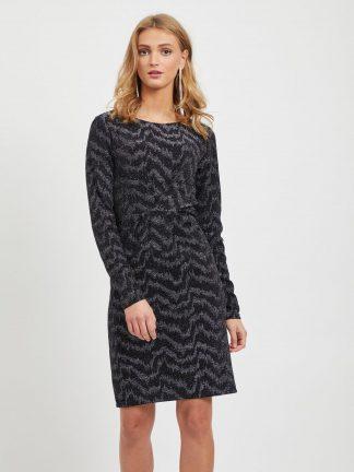 Kjole til julebord, sort og sølv kjole fra Vila.