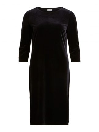 Sort kjole velur, svart kjole fra Vila.