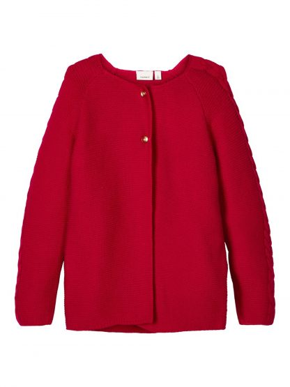 Rød jakke barn, cardigan til jente fra Name It. – Penklær til jul rød strikket cardigan Risol – Mio Trend