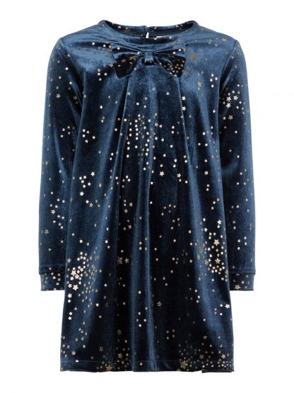 Blå julekjole Name It – Penklær til jul blå kjole med gullstjerner Robba  – Mio Trend