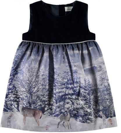 Blå julekjole barn, kjole fra Name It. – Penklær til jul mørke blå kjole Silvia  – Mio Trend