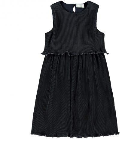 Marineblå penkjole jente, fra Name It. – Penklær til jul mørke blå kjole i plissè  – Mio Trend