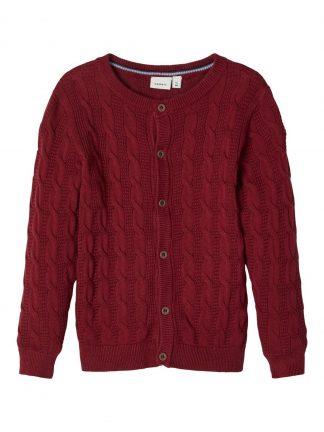 Rød cardigan barn, mørke rød strikkejakke fra Name It.