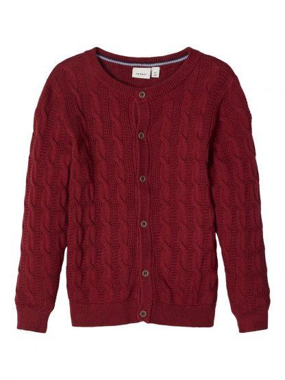 Rød cardigan barn, mørke rød strikkejakke fra Name It. – Penklær til jul mørke rød strikkejakke Silliam – Mio Trend
