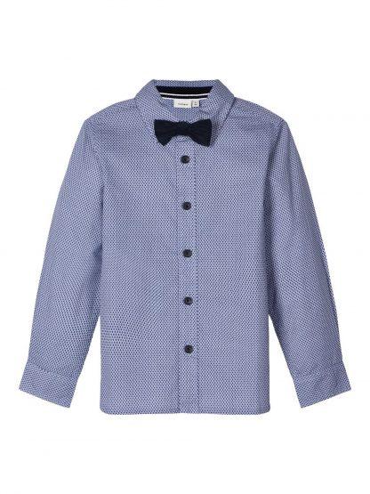 Blå penskjorte barn, skjorte fra Name It. – Skjorter og vester mørke blå penskorte med sløyfe  – Mio Trend