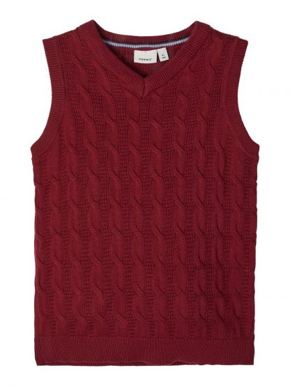 Rød vest barn, fra Name It. – Skjorter og vester mørke rød strikkevest Silliam – Mio Trend