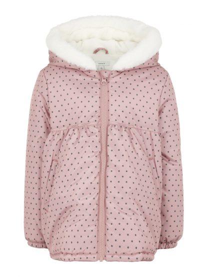 Name It vinterjakke rosa. – Name It rosa vinterjakke med prikker Maria  – Mio Trend