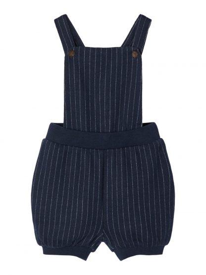 Seleshorts til baby gutt, fra Name It – Sparkebukse/overall blå seleshorts med striper Robum – Mio Trend