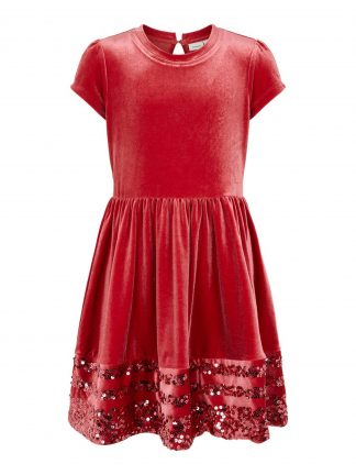Rød julekjole jente, kjole fra Name It.