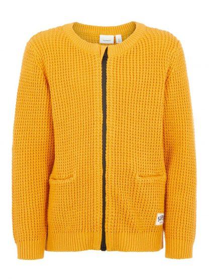 Gul jakke gutt, cardigan fra Name It. – Name It gul/oranjse cardigan Ommo – Mio Trend