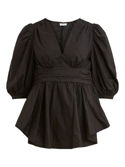 Sort bluse Vila, bluser med puffermer. – Vila sort bluse Melody  – Mio Trend