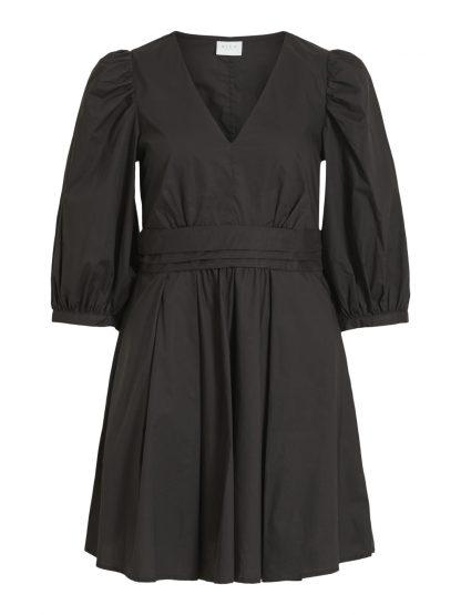 Vila kjole puffermer, sort kort kjole. – Vila sort kjole Melody – Mio Trend