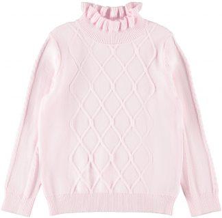 Genser høy hals barn, lyse rosa strikkegenser.