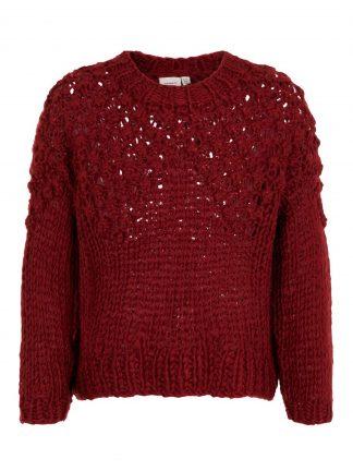 Oversizet genser jente, rød genser fra Name It.
