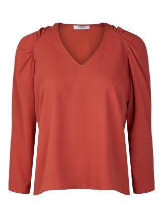 Rød bluse puffermer