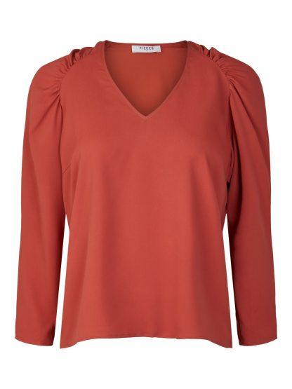 Rød bluse puffermer – Pieces rød bluse med puffermer Yrinna  – Mio Trend