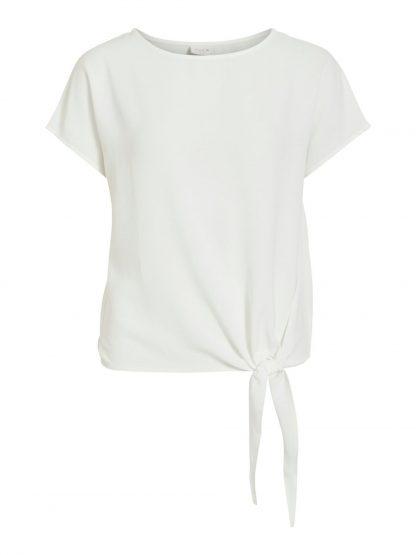 Vila topp off white – Vila topp med knyting – Mio Trend