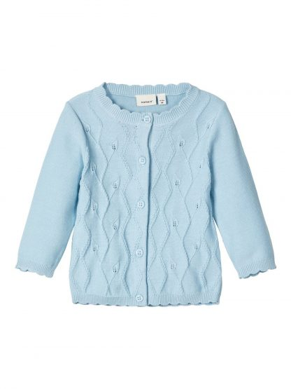 Lyseblå kardigan baby – Name It lyse blå cardigan Blissa  – Mio Trend