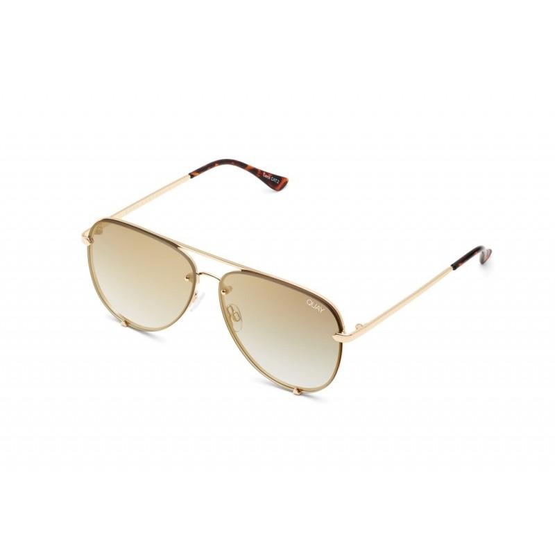 High Key mini rimless solbrille gullbrun