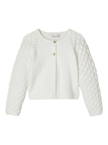 Hvit cardigan jente – Name It hvit kardigan Folira – Mio Trend
