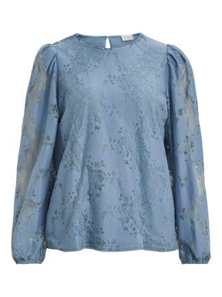 Blå bluse blonder