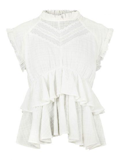 Bluse korte armer – Y.A.S Hvit bluse kort arm Luxa – Mio Trend