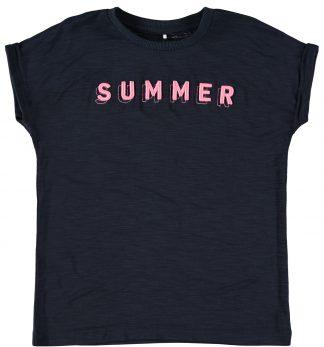 Marineblå t-skjorte jente