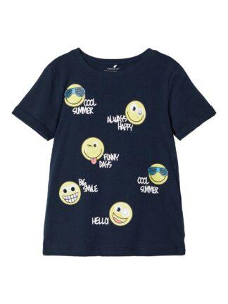 Blå Smiley t-skjorte