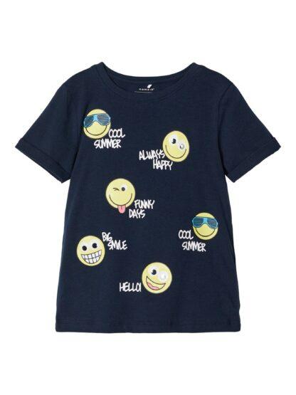 Blå Smiley t-skjorte – T-skjorter blå t-skjorte Smiley – Mio Trend