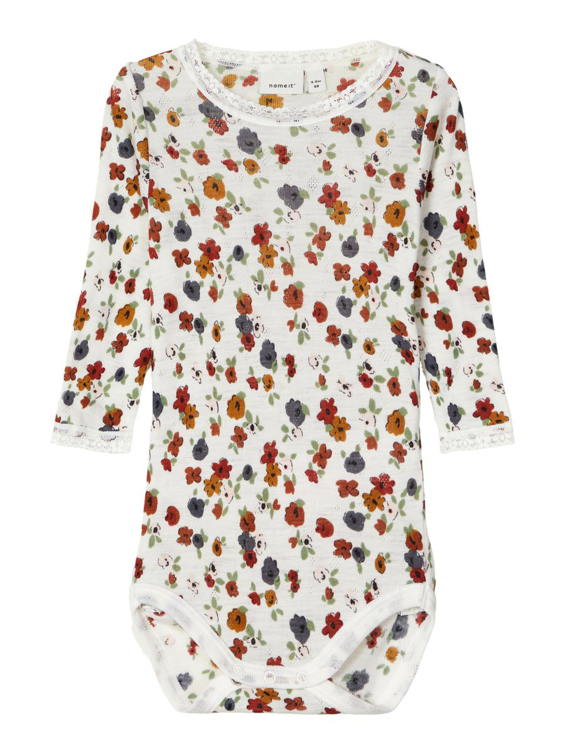 Name It ull baby jente – Ull ullbody med blomster Wang – Mio Trend