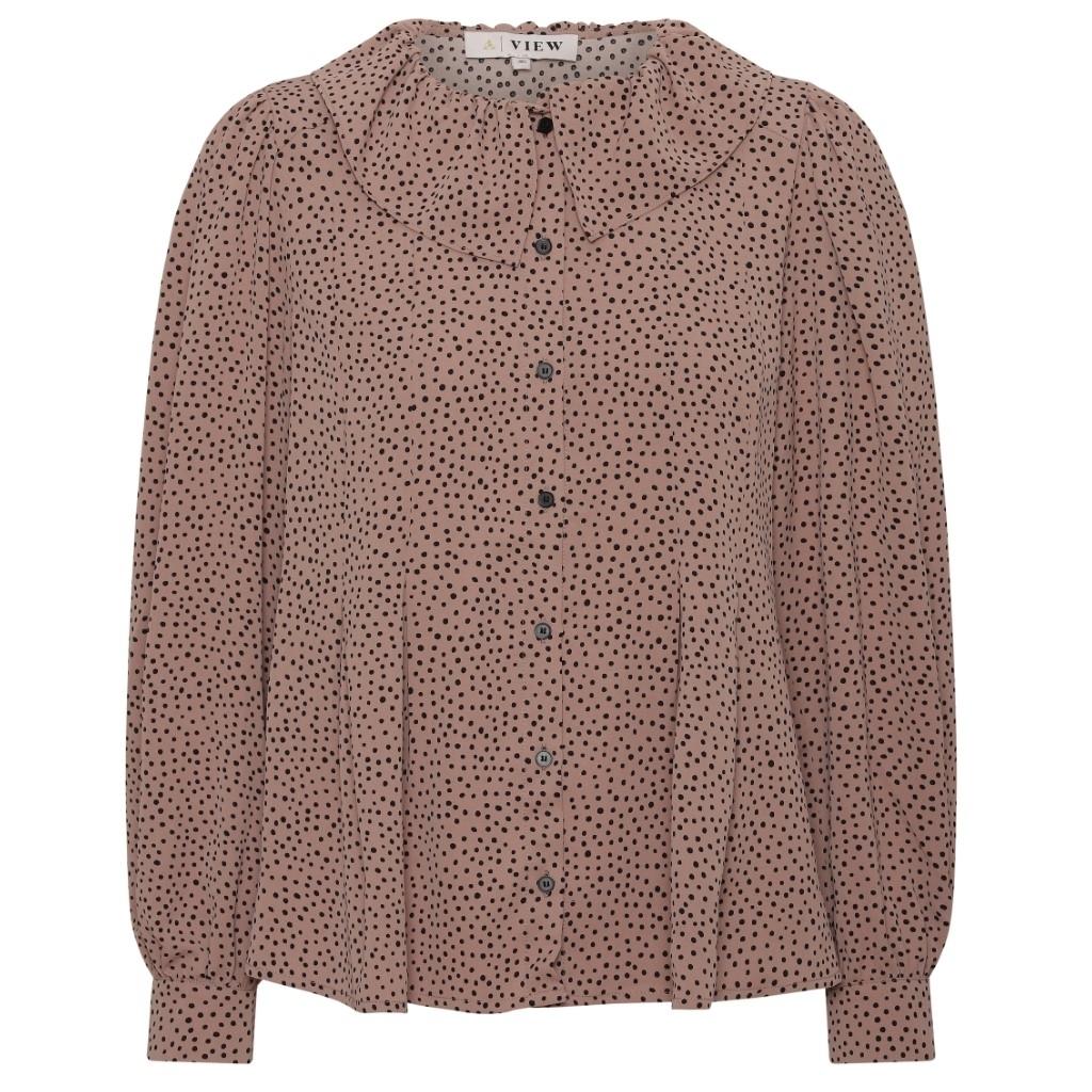 Rosa bluse med prikker