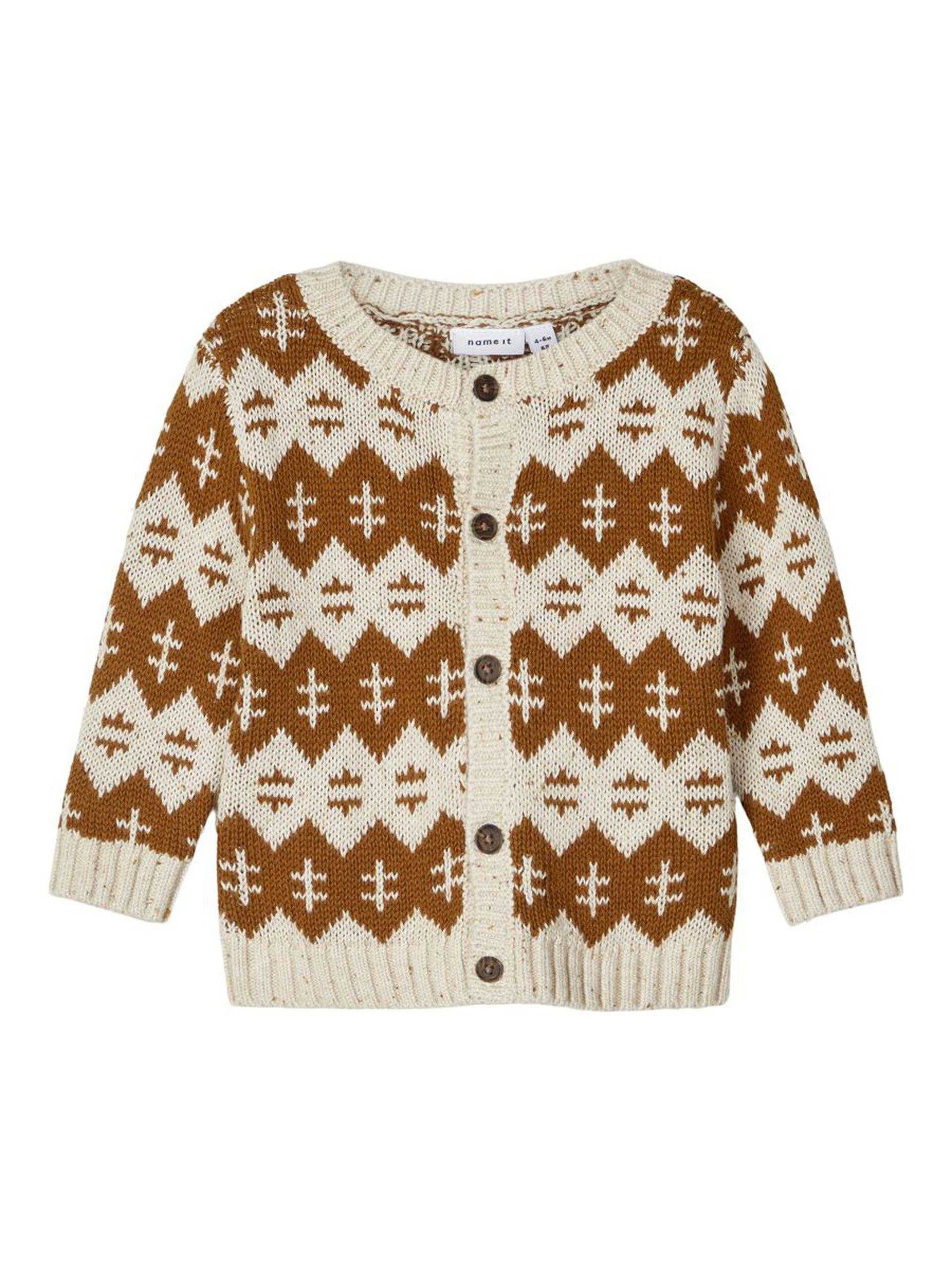 Brun strikkejakke baby – Name It cardigan Remol – Mio Trend