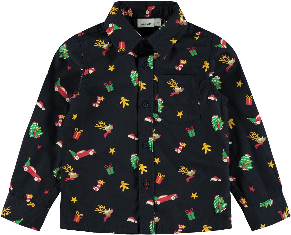 Juleskjorte til barn – Penklær til jul blå juleskjorte Ridley – Mio Trend