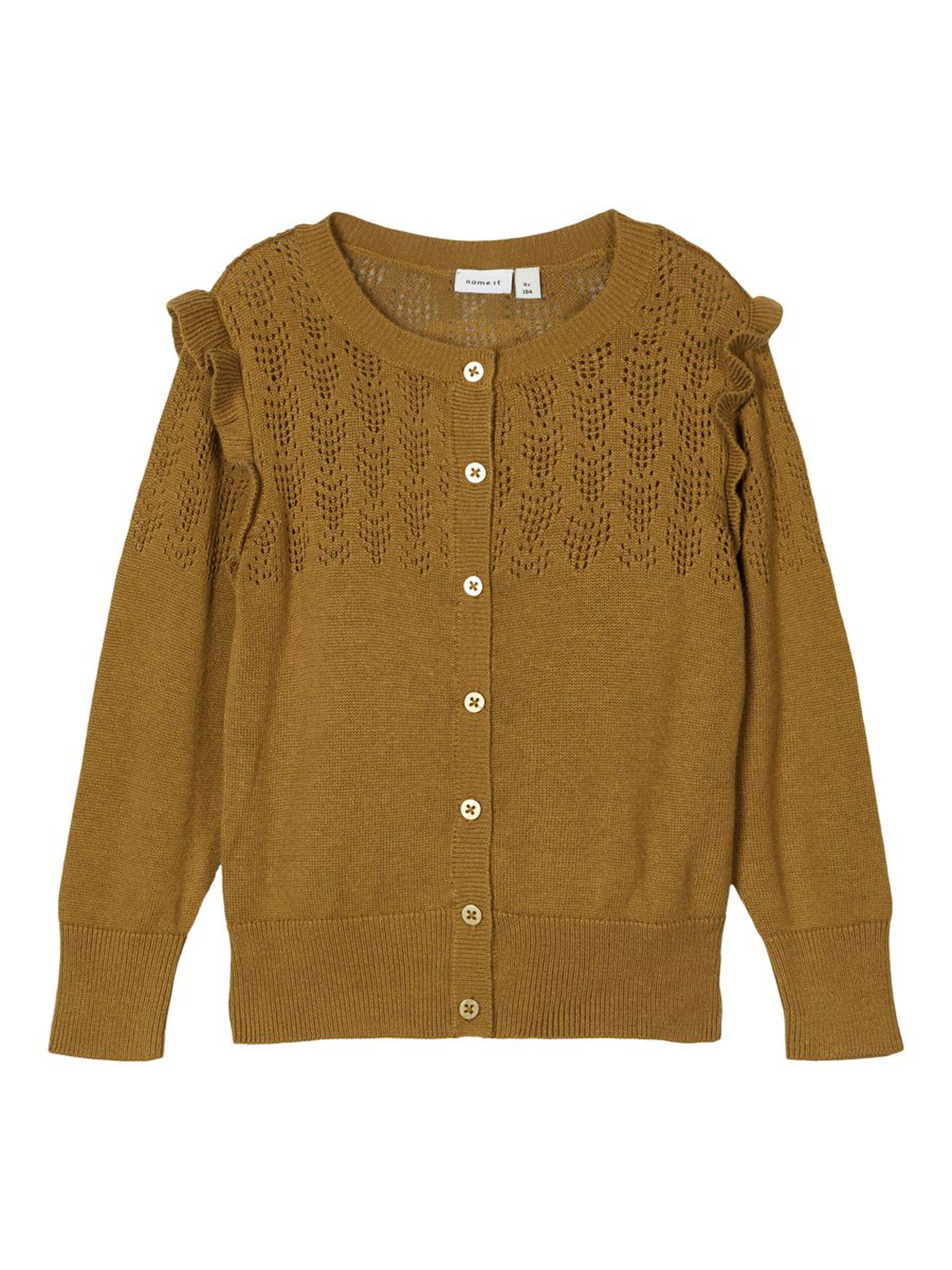 Brun strikkejakke til barn – Name It brun cardigan Onamin – Mio Trend