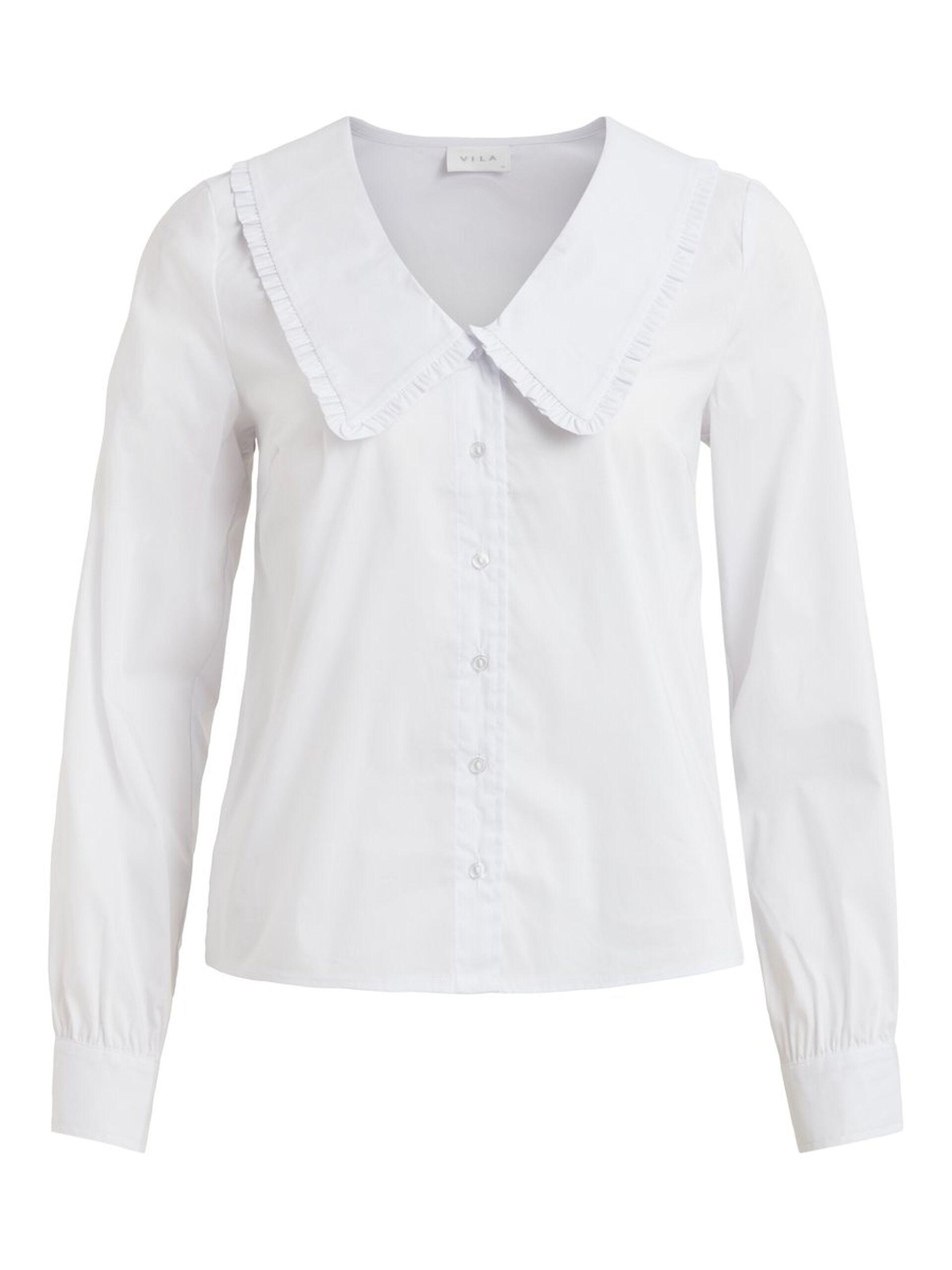 Hvit bluse stor krage