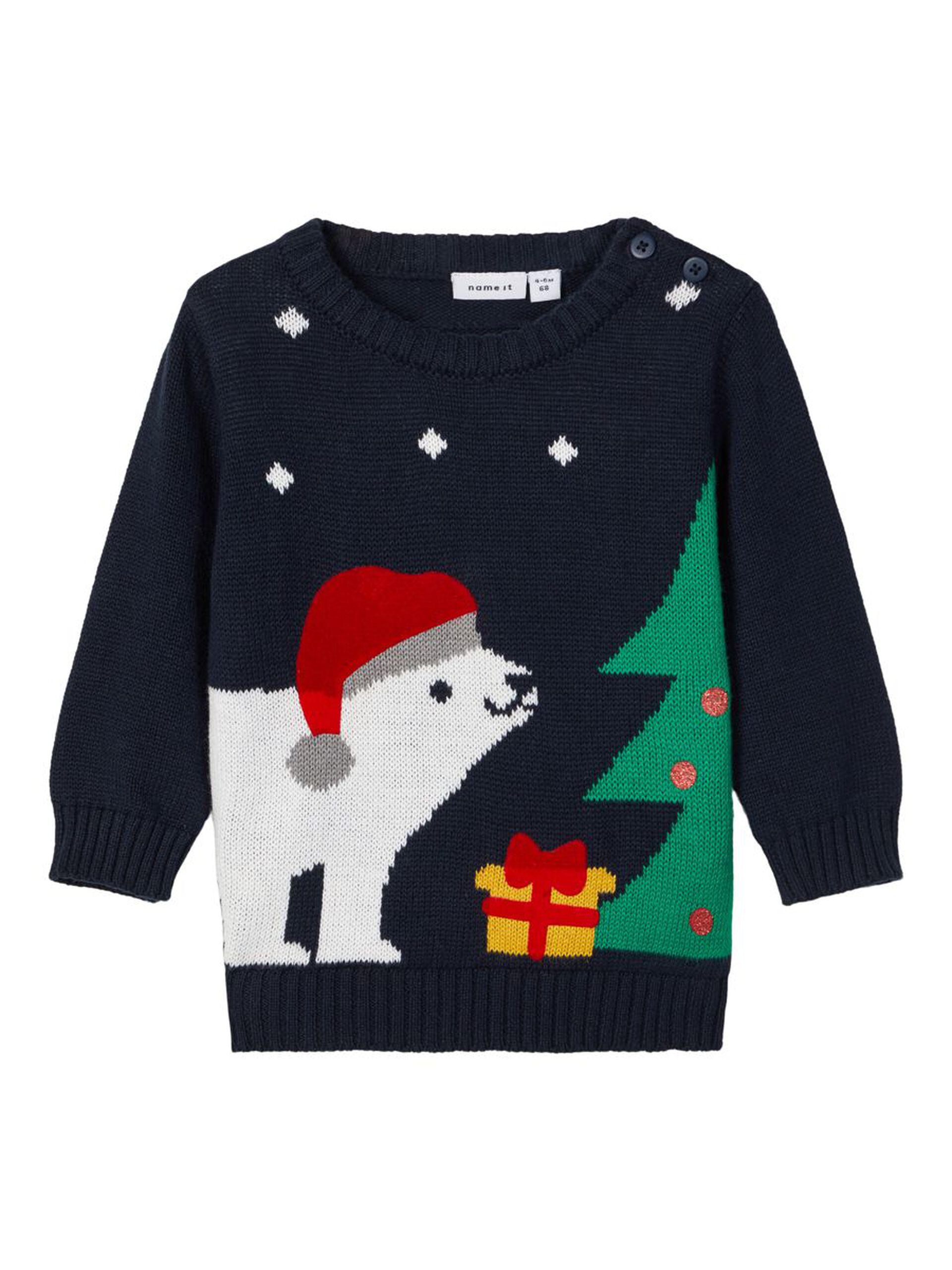 Blå julegenser til baby – Name It blå julegenser til baby – Mio Trend