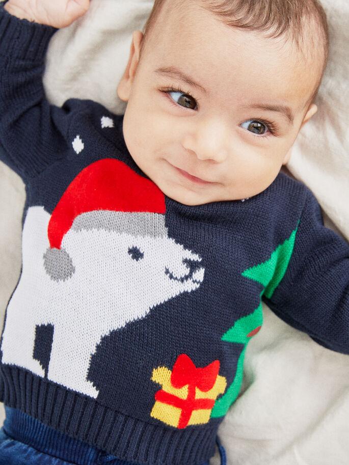 Blå julegenser til baby