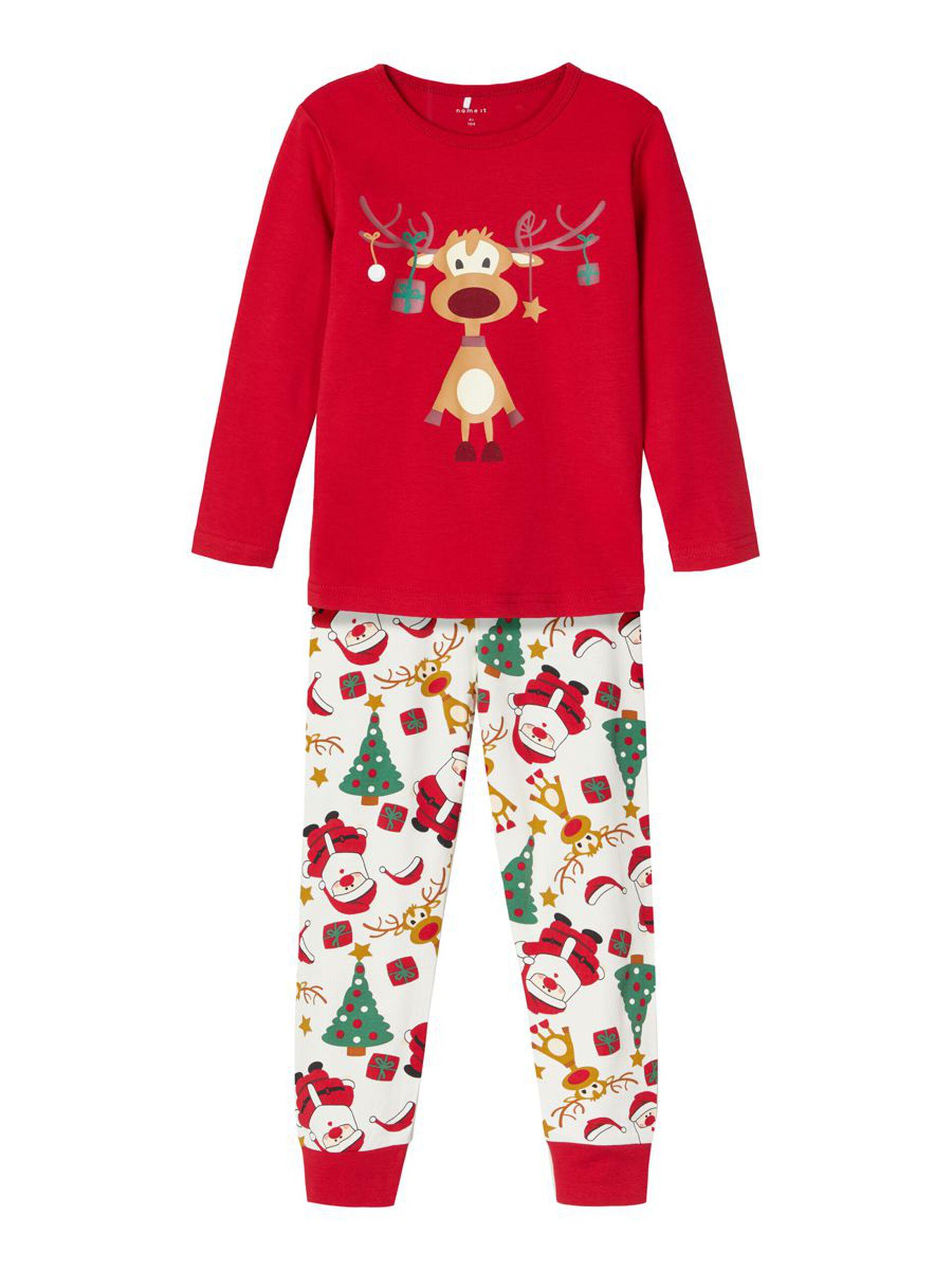 Rød julepysjamas til barn – Nattøy rød julepysjamas med Rudolf – Mio Trend
