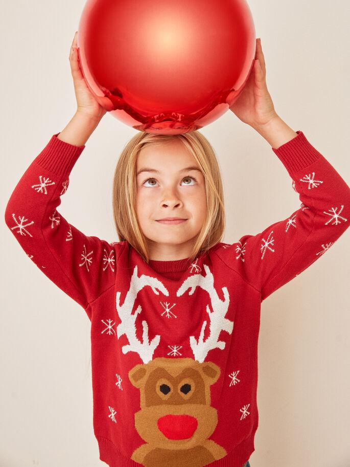 Julegenser jente – Name It rød julegenser med glitter – Mio Trend