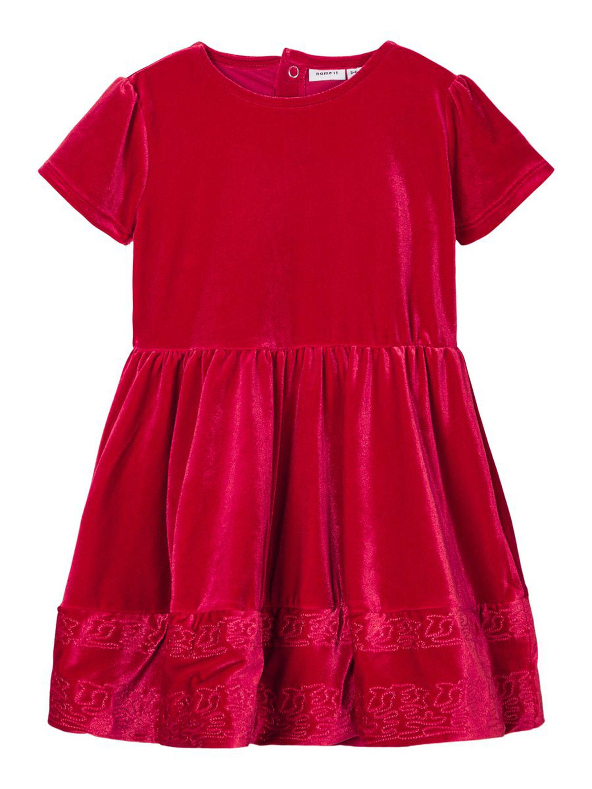 Rød julekjole barn – Penklær til jul rød kjole i velur  – Mio Trend