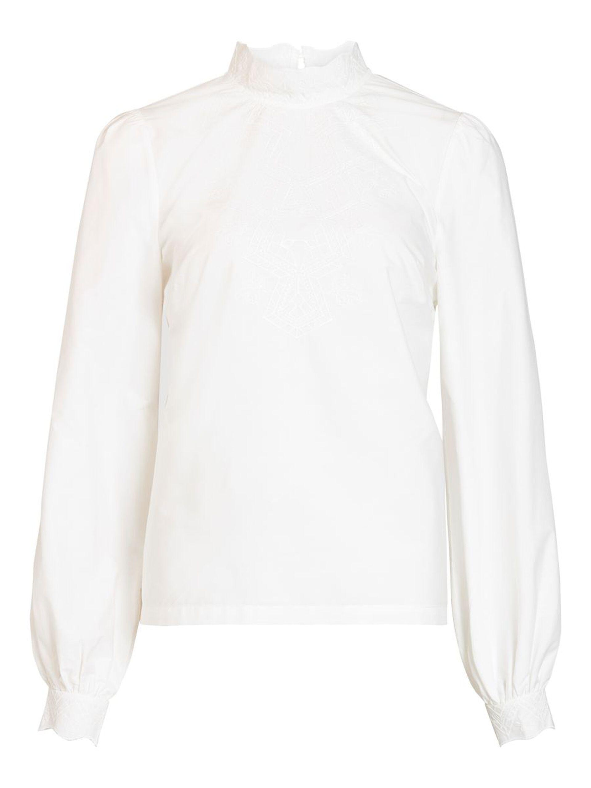 Hvit bluse høy hals