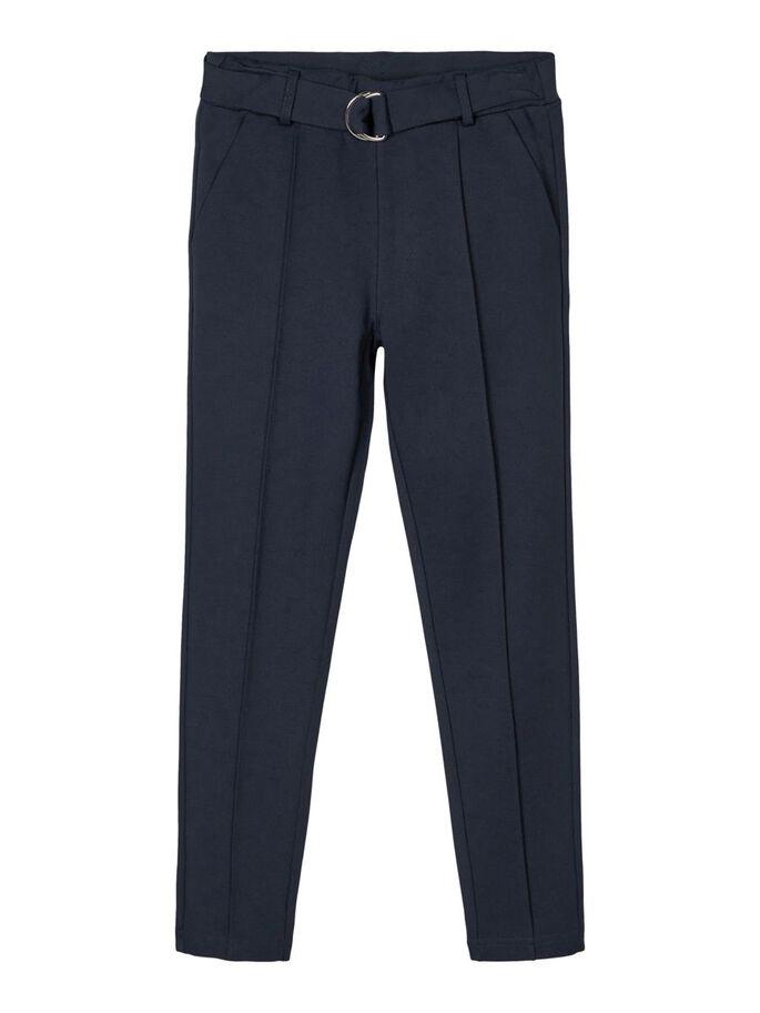 Marineblå bukse til jente – Name It blå bukse med belte Ida – Mio Trend