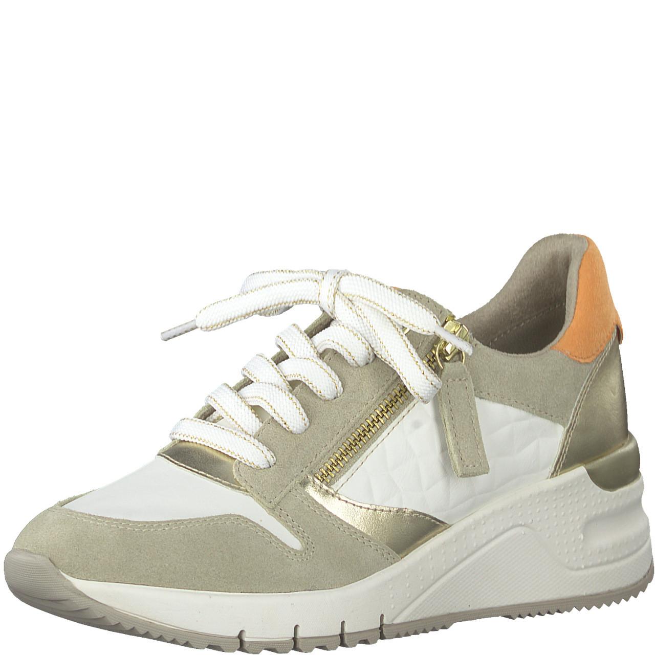 Hvit og gull sneakers Tamaris