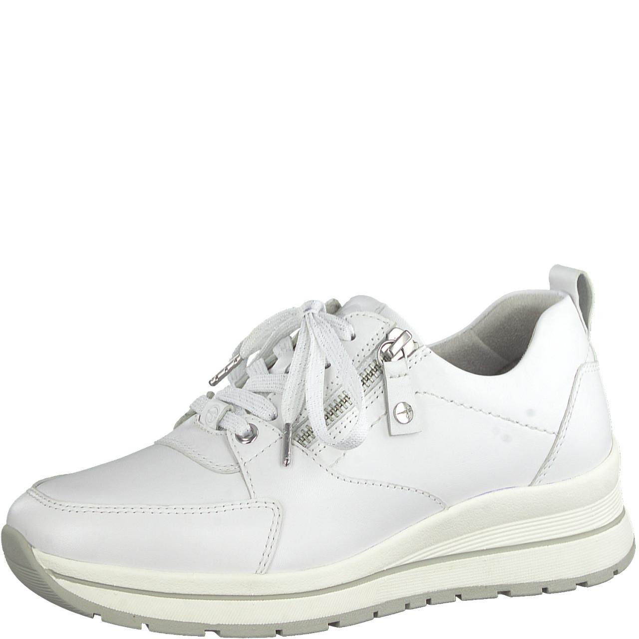 Hvit sko i skinn Tamaris