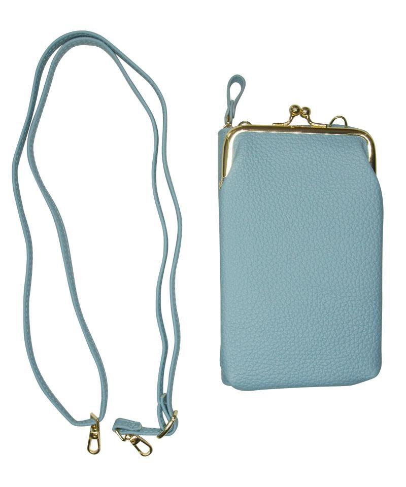 Blå mobilveske og lommebok